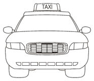 Coloring taxi car. One coloring taxi car on a white background Royalty Free Stock Photo