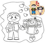 Coloring with templates - Pair on love. Brunette. Coloring with templates - Pair on love. Brunette girl and boy Stock Photography