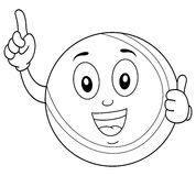 Coloring Tennis Ball Character Thumbs Up Stock Images