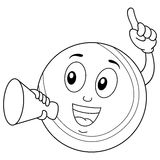 Coloring Tennis Ball Holding a Megaphone. Coloring illustration for kids: a happy cartoon tennis ball character smiling and holding a megaphone, isolated on Stock Photography