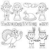 Coloring Thanksgiving Elements. (Pilgrims, Indians, turkey, bread). Useful also for educational or colouring books for kids. Eps file available Royalty Free Stock Image