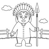 Coloring Thanksgiving Native Man Spear Royalty Free Stock Images