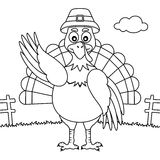 Coloring Thanksgiving Turkey Greeting Royalty Free Stock Images