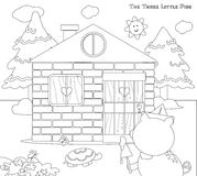 Coloring three little pigs 8: bricks house finished vector illustration