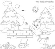 Coloring three little pigs 7: the bricks house stock illustration
