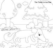 Coloring three little pigs 11: the hungry wolf Stock Photos