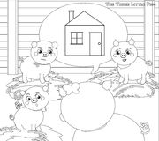 Coloring three little pigs 2. A new house Stock Photos
