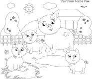 Coloring three little pigs 1 Royalty Free Stock Photo