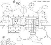 Coloring three little pigs 9: scared piglets royalty free illustration