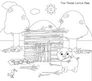 Coloring three little pigs 5: the sticks house royalty free illustration