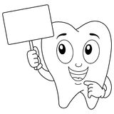 Coloring Tooth Character with Blank Banner Royalty Free Stock Photos