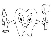Coloring Tooth with Toothbrush & Toothpaste Royalty Free Stock Photos