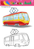 Coloring of tram Stock Photo