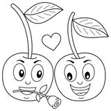 Coloring Two Cute Cartoon Cherries in Love royalty free illustration