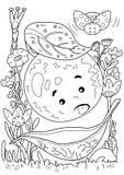 coloring Una mela doodle fotografie stock libere da diritti