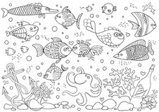 Coloring of underwater world. Aquarium with fish, octopus, corals, anchor, shells, stones, bottle. Stock Images