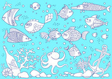 Coloring of underwater world. Stock Image