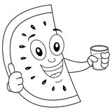 Coloring Watermelon with Squeezed Juice. Coloring illustration for kids: a cool cartoon watermelon slice character with thumbs up and holding a glass with a Stock Photos
