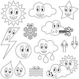 Coloring Weather Characters. Collection of twelve funny cartoon weather characters (sun, clouds, star, lightning, snowflake, water drops, fog, arrows), black and Stock Photos