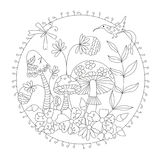 Coloring wild mushrooms . vector illustration of a inscribed in a circle.  Royalty Free Stock Photography