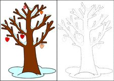 Coloring - winter tree Stock Photo