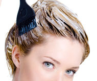 Coloring of woman's head stock image