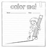 Coloring worksheet with a boy drawing a line Royalty Free Stock Image