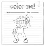 Coloring worksheet with a boy holding a hammer Stock Images