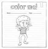 Coloring worksheet with a boy Royalty Free Stock Photography
