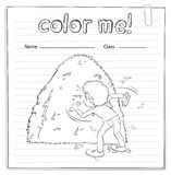 Coloring worksheet with a boy looking at the haystack Royalty Free Stock Images