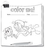 A coloring worksheet with a boy Stock Images