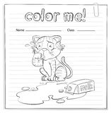 A coloring worksheet with a cat Royalty Free Stock Images
