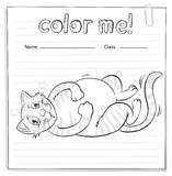 Coloring worksheet with a cat Stock Image