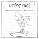 Coloring worksheet with a clown Royalty Free Stock Image