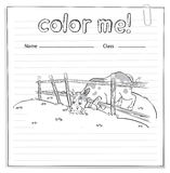 Coloring worksheet with a cow Stock Images