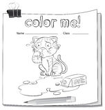 Coloring worksheet with a crying cat. Over a spilt milk on a white background royalty free illustration