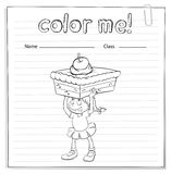 Coloring worksheet with a girl carrying a cake Stock Photos