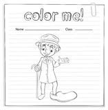 A coloring worksheet with a man Royalty Free Stock Images
