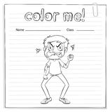 Coloring worksheet with a man Royalty Free Stock Photo