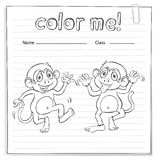 Coloring worksheet with monkeys Stock Image