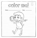 A coloring worksheet with a young girl Stock Photos