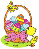 Coloring Yellow Easter chick and eggs background Stock Photo