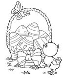 Coloring Yellow Easter chick and eggs background Royalty Free Stock Photo