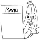 Coloring Zucchini Character with Blank Menu Stock Photos