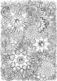 Coloringbook, drawing background with floral patterns Stock Photography
