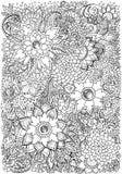 Coloringbook, fondo di disegno con i modelli floreali Fotografia Stock