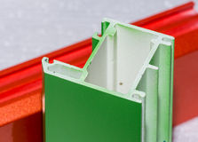 Colorised fiberglass profile samples for windows Royalty Free Stock Photography