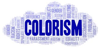 Colorism - type of discrimination - word cloud. Wordcloud made with text only royalty free illustration