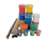 Coloritura con i tubi e le spazzole Immagine Stock Libera da Diritti