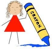 Coloritura del fumetto con il pastello Fotografie Stock Libere da Diritti